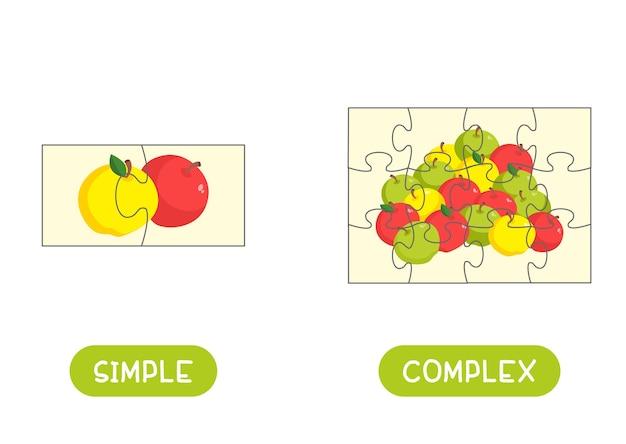 ジグソーパズルテンプレート付きのワードカード。モザイクの部分が付いている英語のためのフラッシュカード。コンセプトの反対、シンプルで複雑。