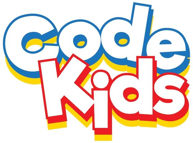 Слово код дети на белом фоне