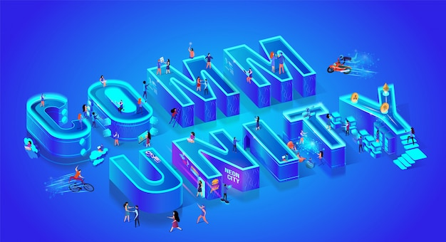 Word community. isometric 3d style. huge letters