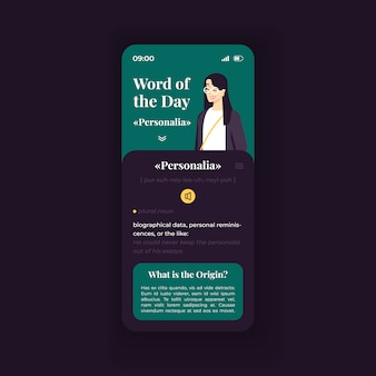Word of the day trivia smartphone interface   template