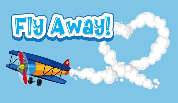 Word design for fly away with airplane flying in the sky
