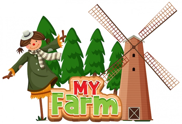 Word design for my farm with scarecrow and windmill