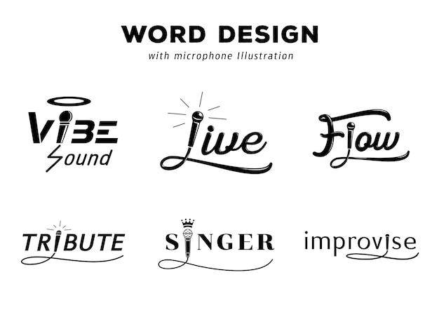 Word design with microphone illustration