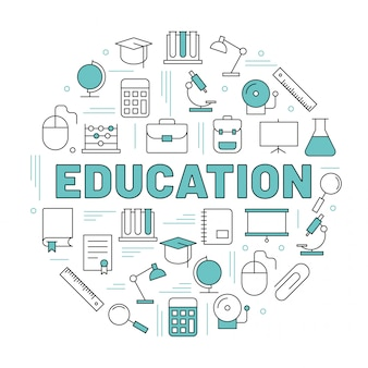 The word education surrounded by icons