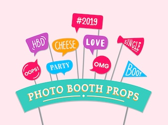 Word expressions set for party photo booth props vector