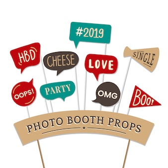 Word expressions set for party photo booth props