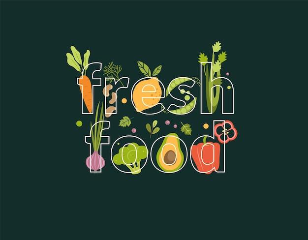 Слово свежие продукты, полные овощей на фоне.