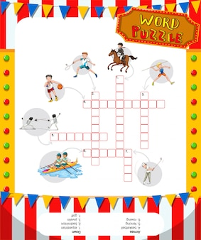 Word game puzzle design with sport theme