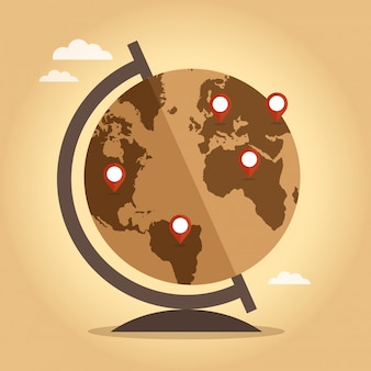 Word globe with pointers on vintage background