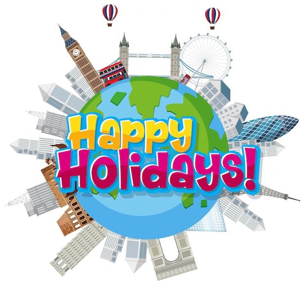 Слово счастливых праздников с направлениями на земле
