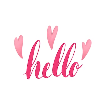 The word hello typography decorated with hearts vector
