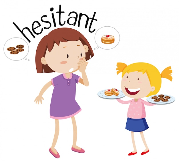 Word hesitant, mother and daughter characters
