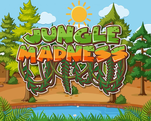 Word jungle madness with trees illustration