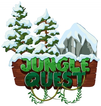 Word jungle quest with snow on trees
