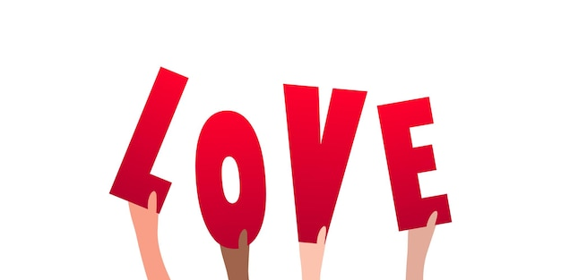 Word love in human hands illustration