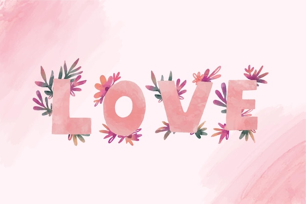 Word love lettering with flowers for valentines day