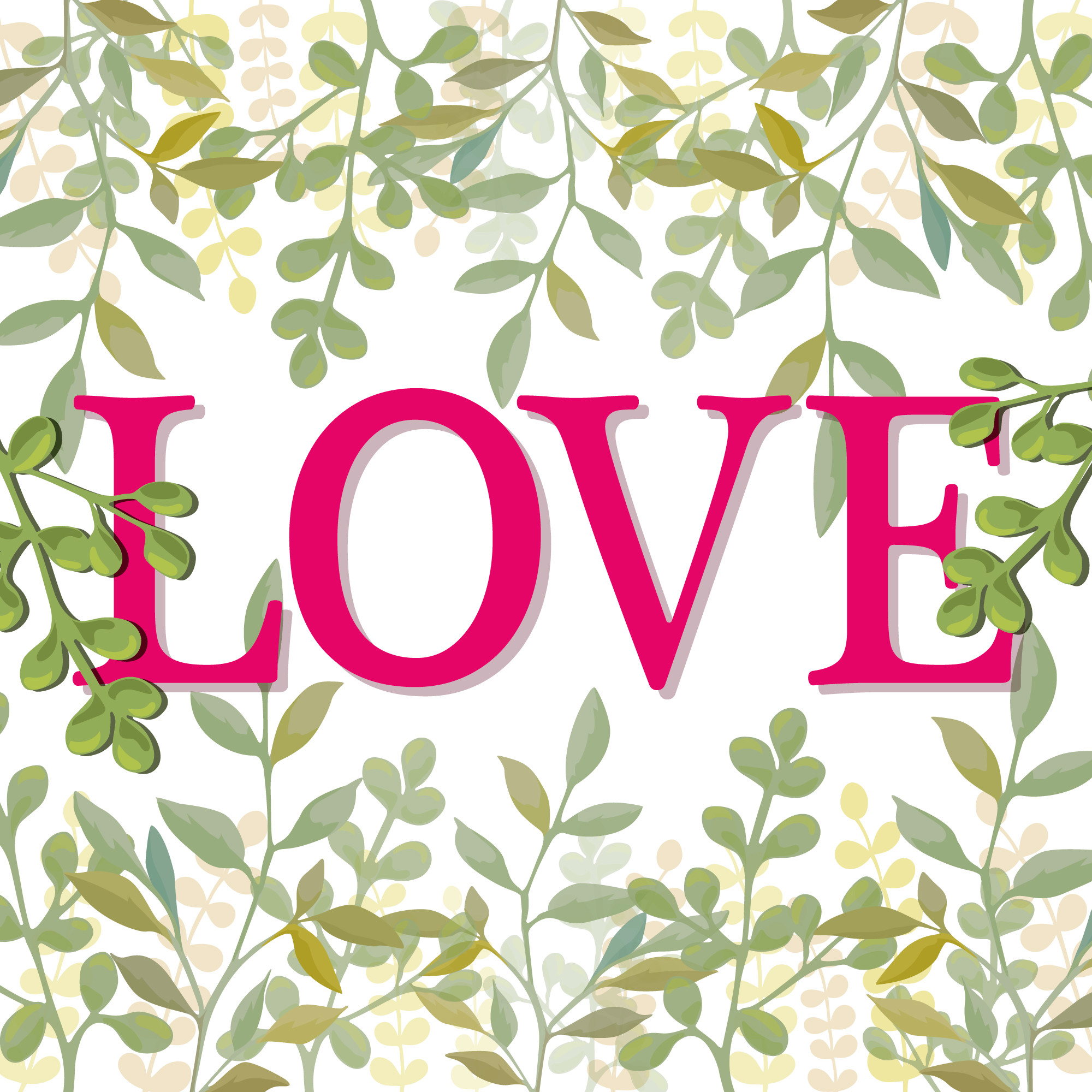 Word love with background of leaves