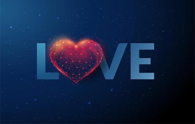 심장 모양으로 단어 사랑입니다. 행복한 발렌타인 데이.