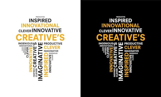 Слово творческой типографии с формой лампочки, творческая типография текст слово искусство векторная маркетинговая иллюстрация