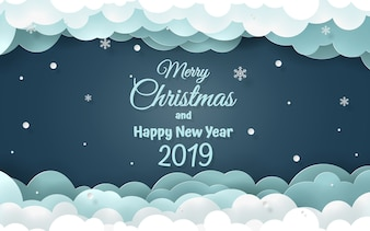 Word of Merry Christmas and happy new year 2019