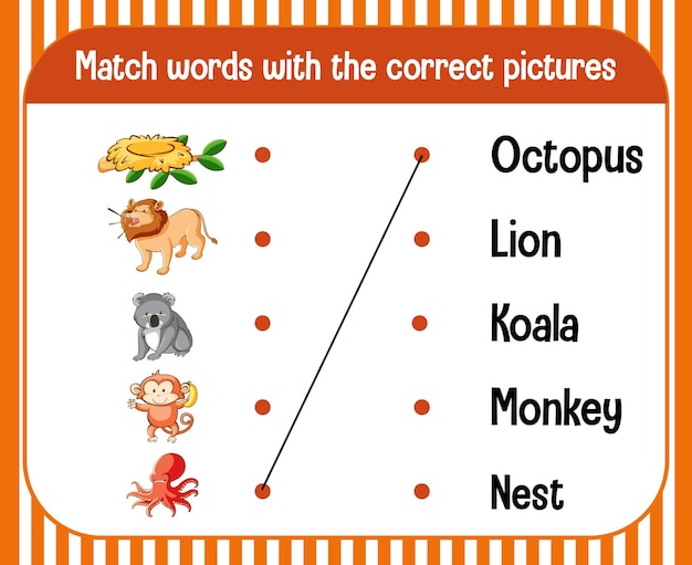 Word to picture matching worksheet for children