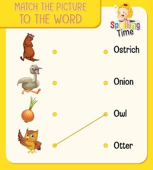Foglio di lavoro di corrispondenza parola per immagine per bambini