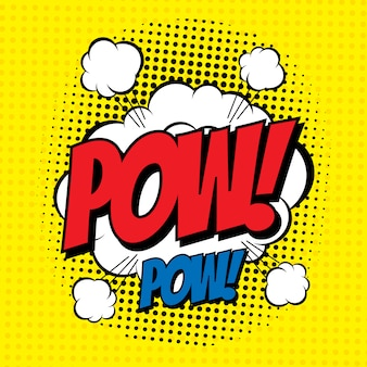 Word pow in comic style with halftone effect.