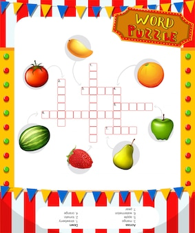 Word puzzle game template with fruits