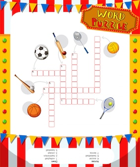 Word puzzle game with sport equipments