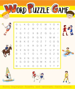 Word puzzle game with sport theme