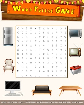 Word puzzle game with things in the house
