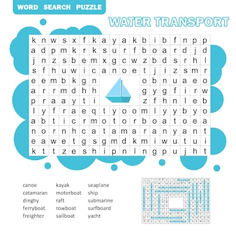 Word puzzle template with water transportation illustration - word search game for kids with answer