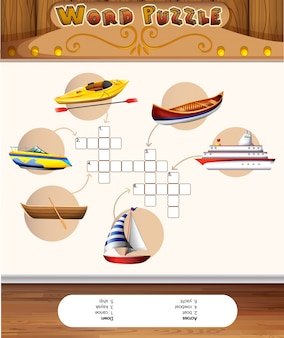 Word puzzle template with water transportations