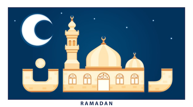 Word ramadan drawn like a mosque