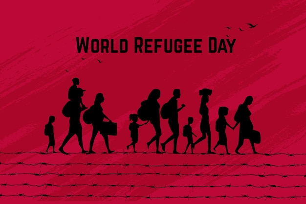 Word refugee day silhouettes concept