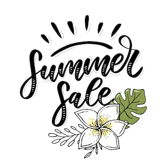 Word sale .letters made of flowers and leaves summer sale holiday flyer banner poster summer sales