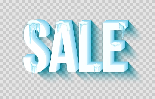 Word sale with snow and icicles