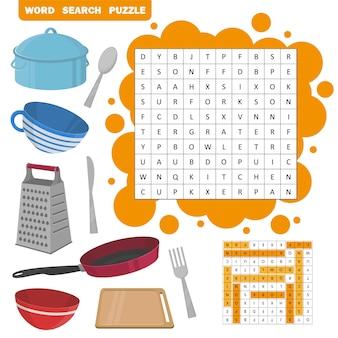 Головоломка поиска слова. игра вектор образования для детей. набор иконок кухонного оборудования - сковорода, чашка, сковорода, миска, доска и т. д.