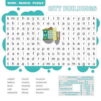 Word search puzzle. vector game about city buildings. worksheet for children. colorful printable version with answer