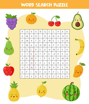 Word search puzzle with cute kawaii fruits and berries. find all the words in the field. elementary crossword for children. set of cartoon fruits. logical game. funny brain teaser for kids.