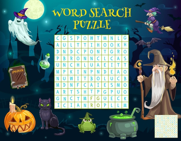Word search puzzle worksheet, halloween characters