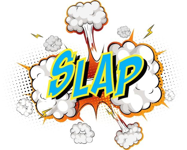 Word slap on comic cloud explosion background