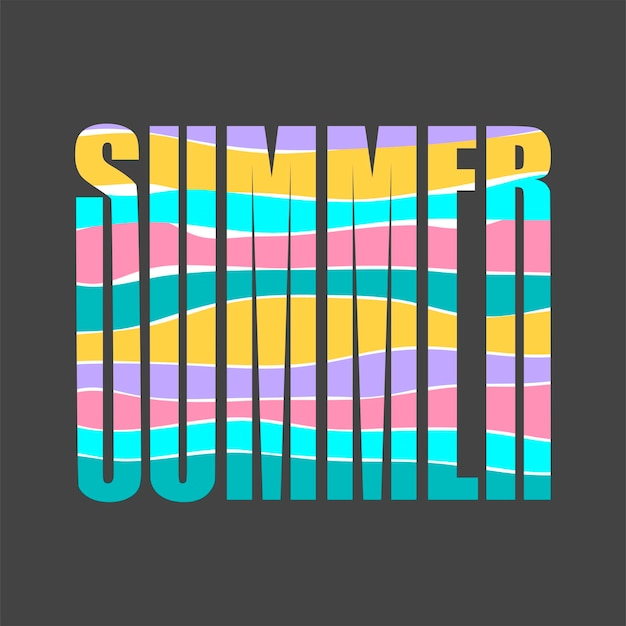 Parola estate e lettere dai colori accesi