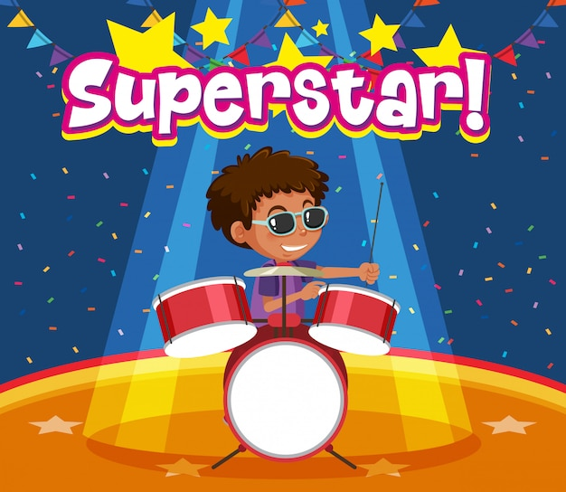 Word superstar with boy playing drumset