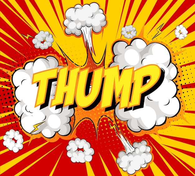 Word thump on comic cloud explosion