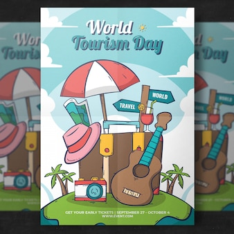 Word tourism day flyer template