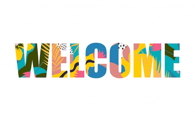 Word welcome isolated banner