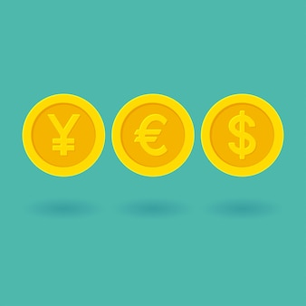 Word yes made of yellow golden coins currency symbols. yen, euro, dollar illustration