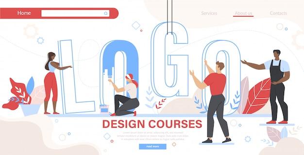 Wordロゴのランディングページテンプレートを設定する人々のグループ