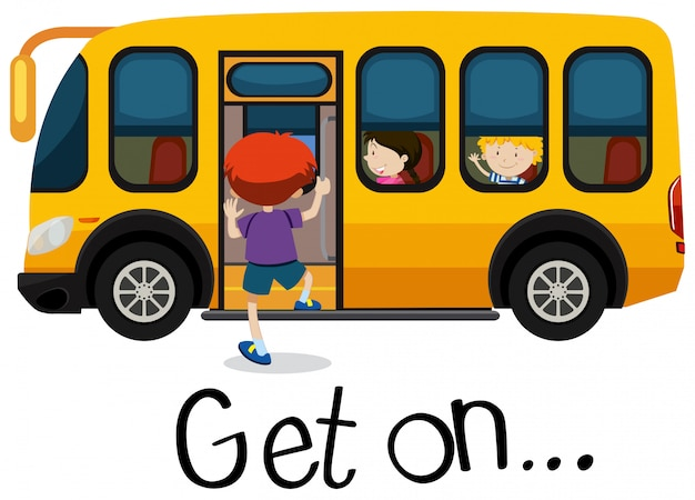 Wordcard for get on with boy getting on schoolbus
